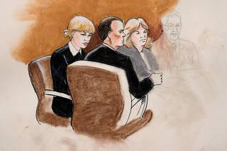 Desenho de Taylor Swift e seus advogados no tribunal federal de Denver, durante julgamento de agressão sexual 08/08/2017 REUTERS/Jeff Kandyba