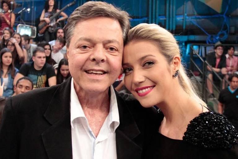 Líber Gadelha e a filha Luiza Possi durante uma gravação do programa Altas Horas (Globo)