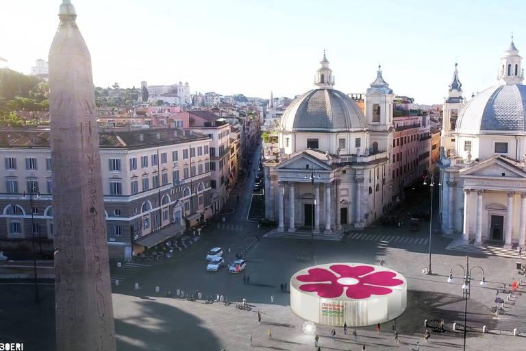 Itália projeta centros de vacinação com tema de flores para atrair pessoas para imunização