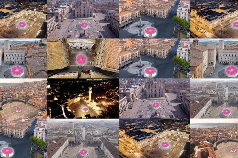 Uma imagem gerada por computador mostra pavilhões para a campanha de vacinação contra a Covid-19, projetada pelo arquiteto Stefano Boeri, em diferentes lugares na Itália