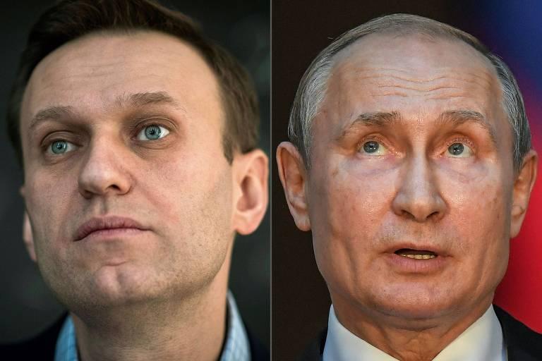 O opositor Alexei Navalni, à esq., e o presidente da Rússia, Vladimir Putin