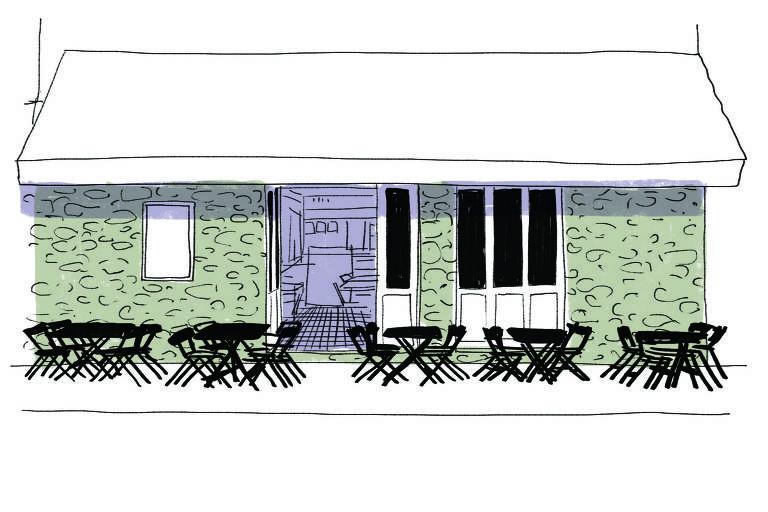 Ilustração da fachada do Bar Filial, com mesas na calçada