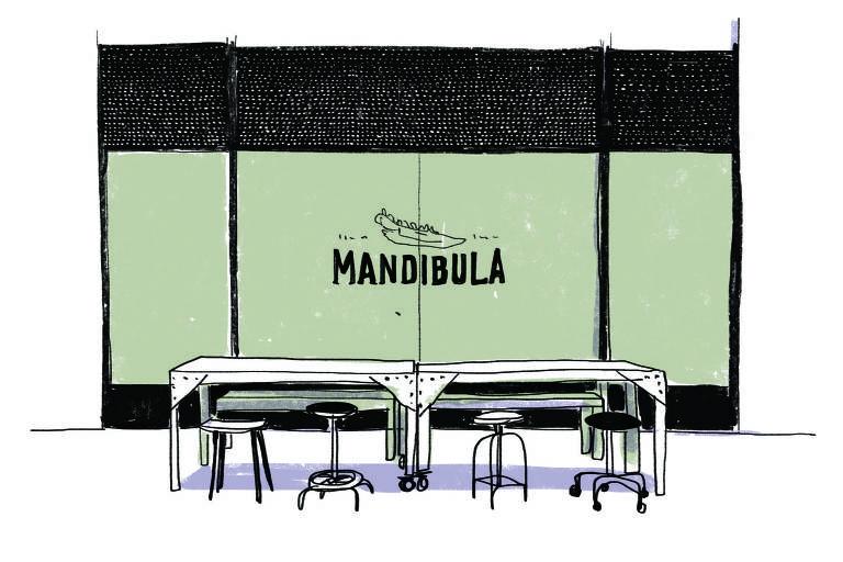 Ilustração da fachada do Mandíbula, com mesas e banquetas em frente à vitrine do bar