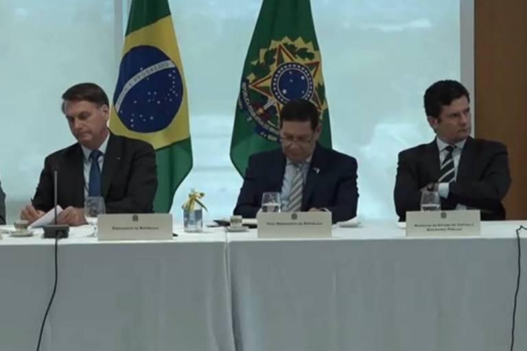 Reprodução de vídeo liberado por Celso de Mello em que o ex-ministro Sergio Moro apontou interferência do presidente Jair Bolsonaro na PF