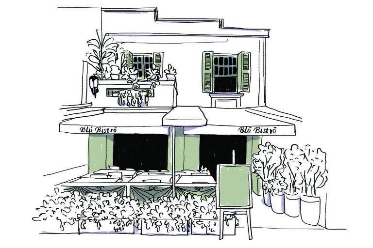 Ilustração da fachada do Blú Bistrô