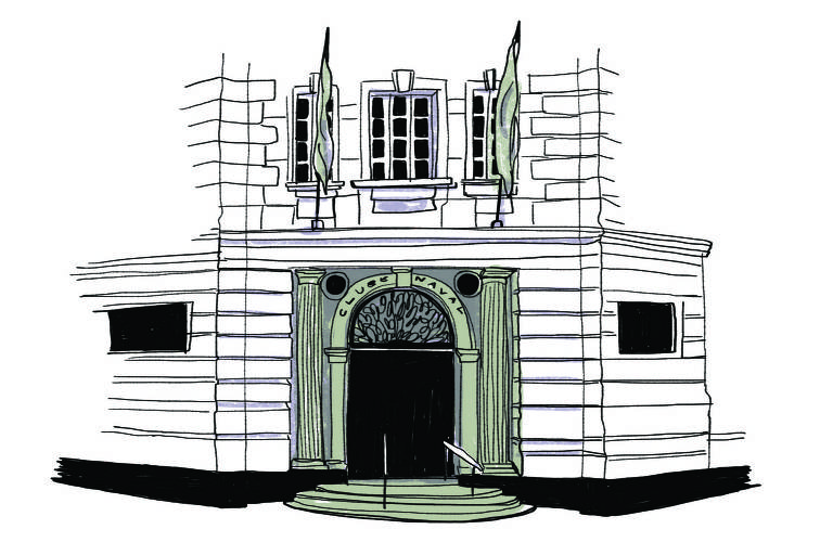 Ilustração da fachada do Clube Naval, onde ficava o Navegador