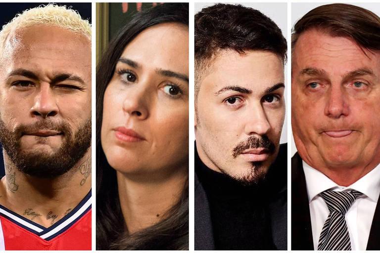 Da esq. para dir., Neymar Jr., Tatá Werneck, Carlinhos Maia e Jair Bolsonaro