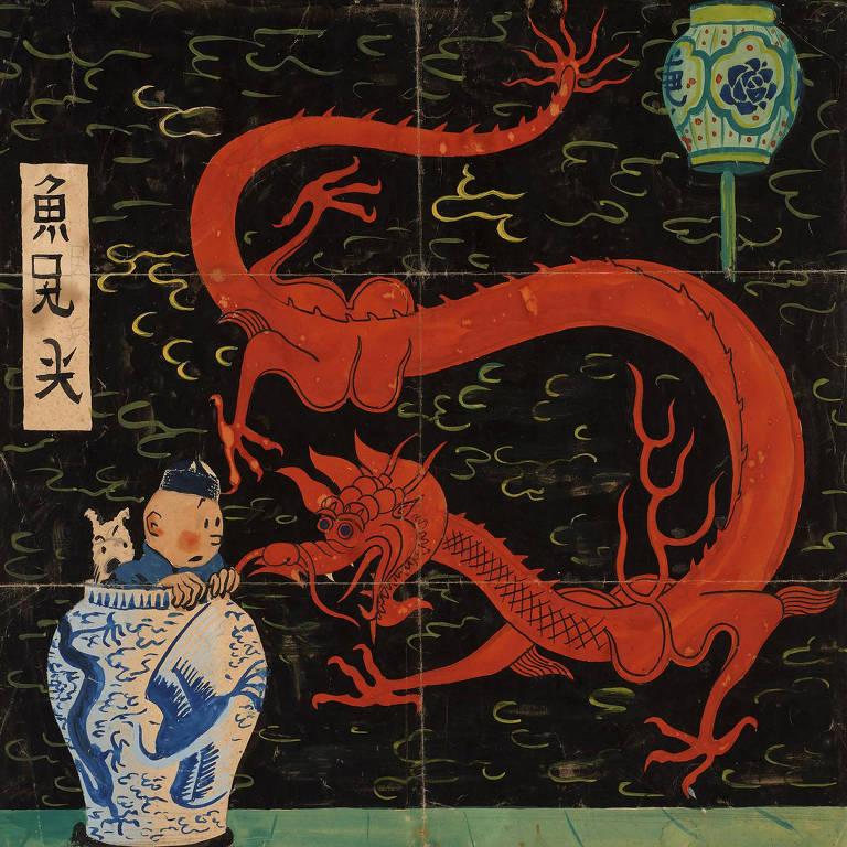 A ilustração mostra Tintim e seu cãozinho Milu enfiando a cabeça para fora de um vaso e dando de cara com um dragão pintado sobre a parede atrás deles. Tanto eles quanto o dragão ostentam expressão de espanto.