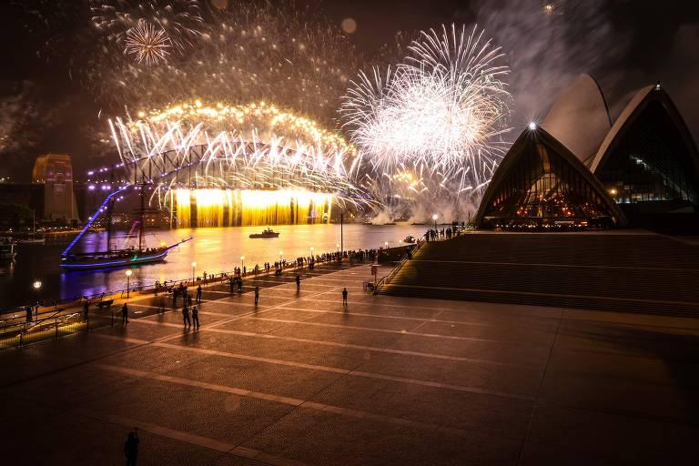 Os arredores da Sydney Opera House, onde acontece tradicional show de Ano-Novo