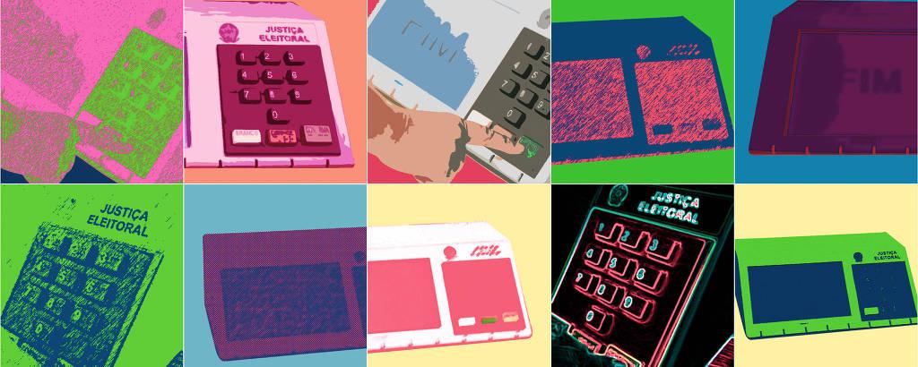 várias urnas em formas e cores diferentes imitando o estilo pop arte