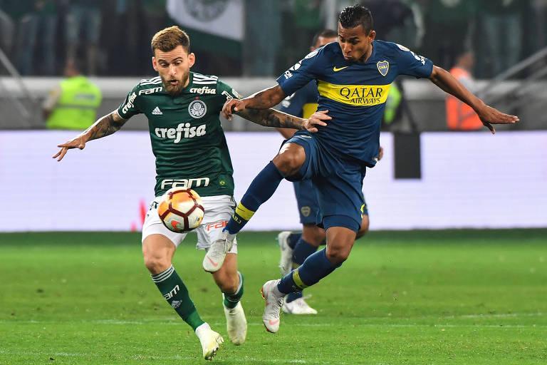 Lucas Lima e Sebastián Villa em duelo entre Palmeiras e Boca Juniors, pela Libertadores de 2018