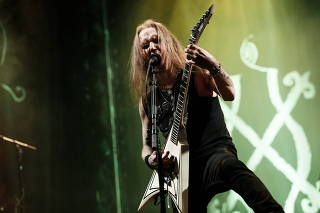 Alexi Laiho, singer and guitarist of Finnish black metal band Children of Bodom, performs in Helsinki
