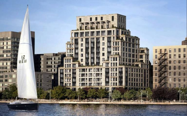 O prédio de luxo  está localizado na 70 Vestry em Nova York  com vista privilegiada para o rio Hudson