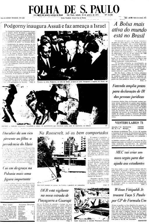 Primeira Página da Folha de 16 de janeiro de 1971