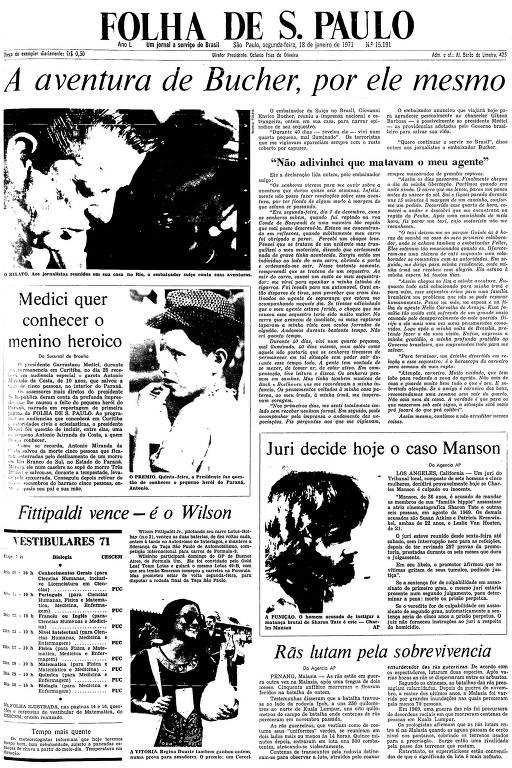 Primeira Página da Folha de 18 de janeiro de 1971