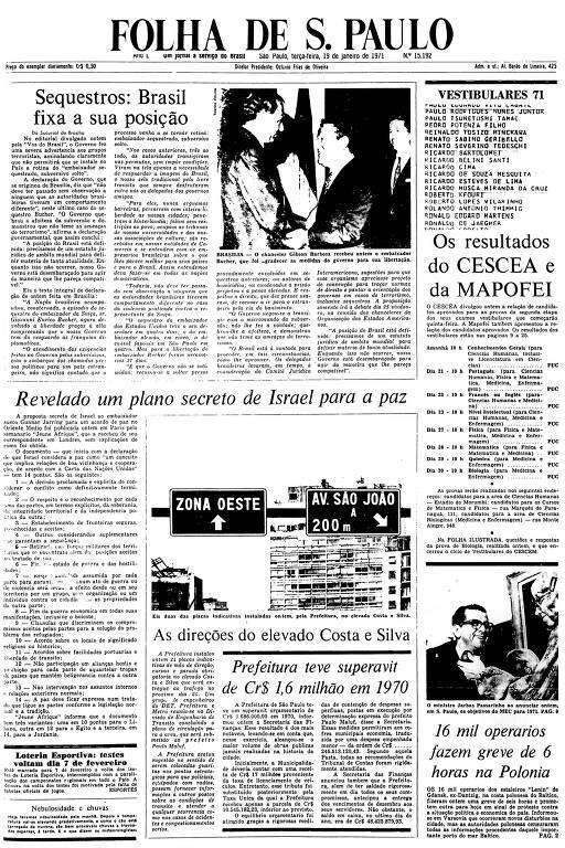 Primeira Página da Folha de 19 de janeiro de 1971