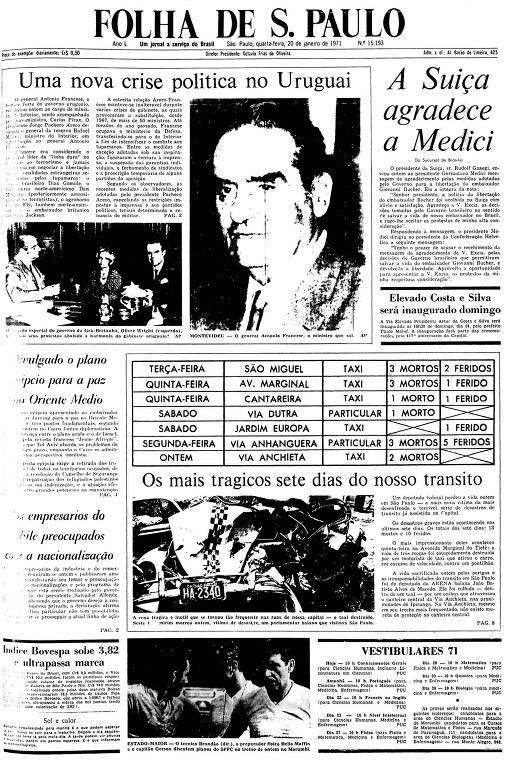 Primeira Página da Folha de 20 de janeiro de 1971