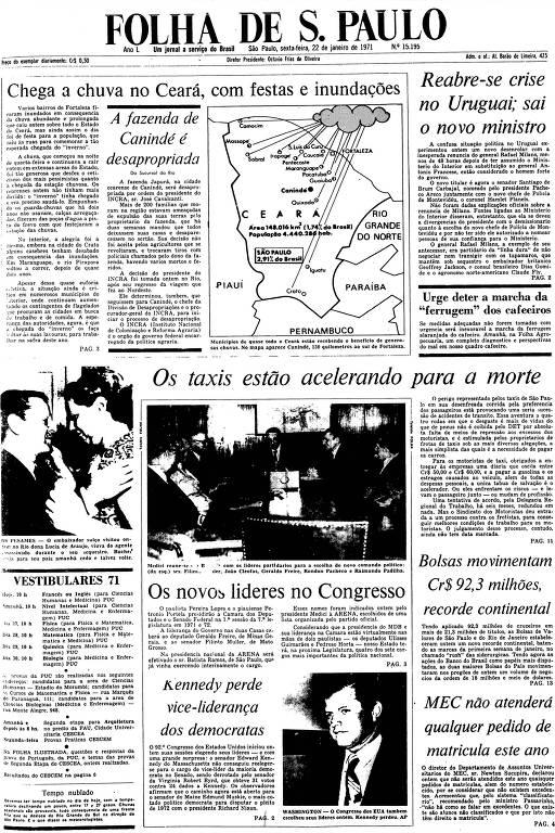 Primeira Página da Folha de 22 de janeiro de 1971