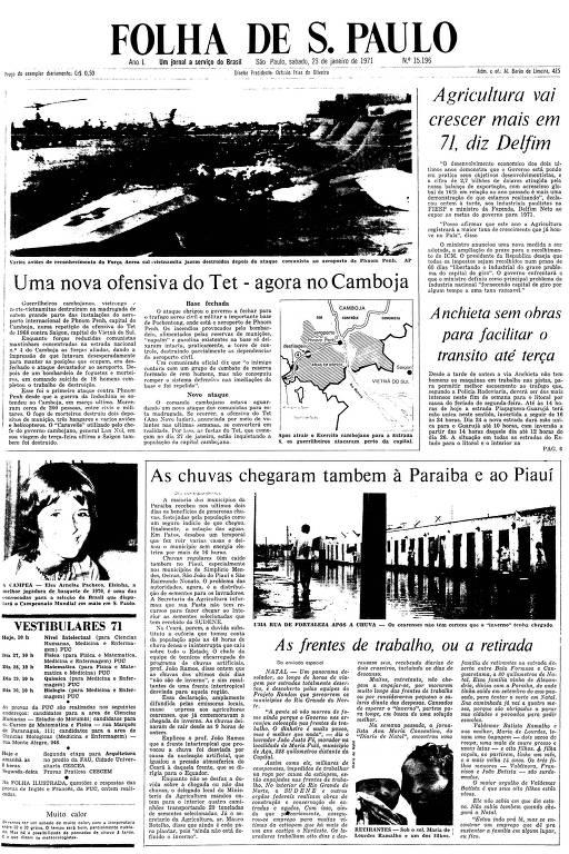 Primeira Página da Folha de 23 de janeiro de 1971