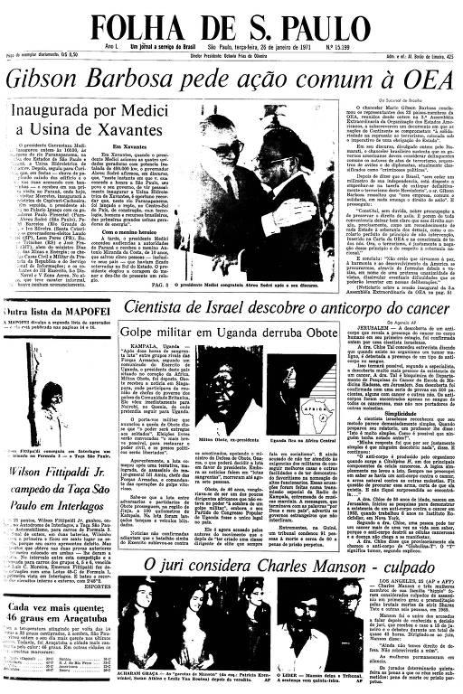 Primeira Página da Folha de 26 de janeiro de 1971