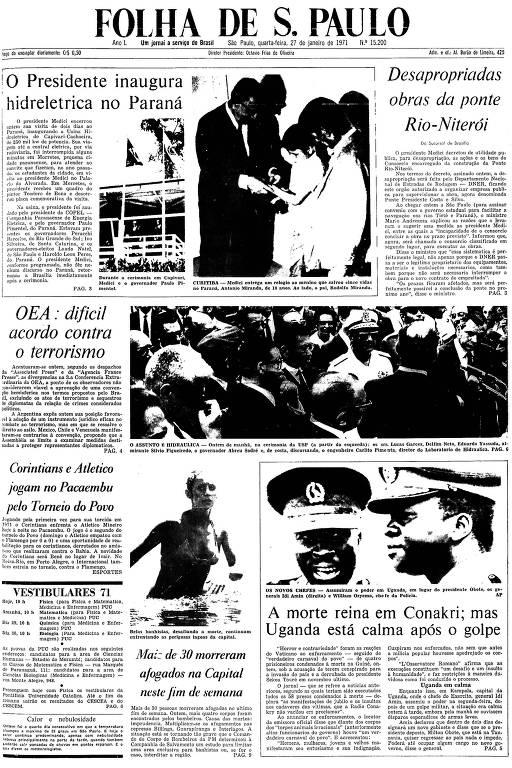 Primeira Página da Folha de 27 de janeiro de 1971