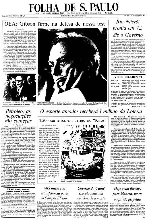 Primeira Página da Folha de 28 de janeiro de 1971