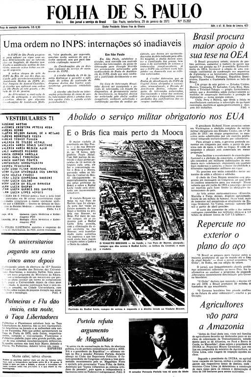 Primeira Página da Folha de 29 janeiro de 1971