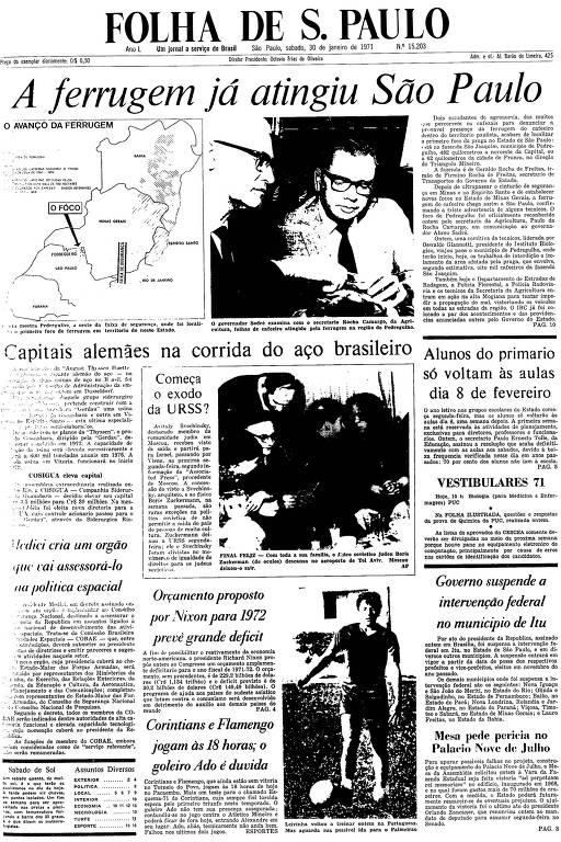 Primeira Página da Folha de 30 janeiro de 1971