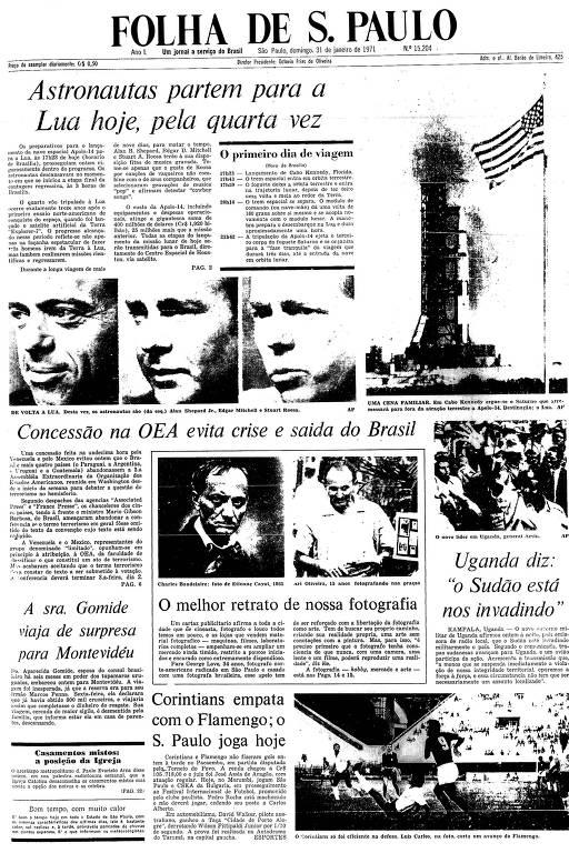 Primeira Página da Folha de 31 janeiro de 1971