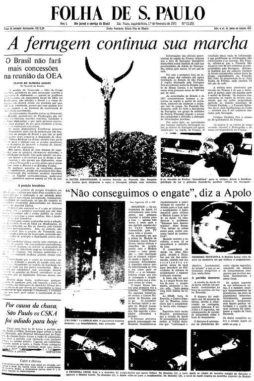 Primeira Página da Folha de 1º de fevereiro de 1971