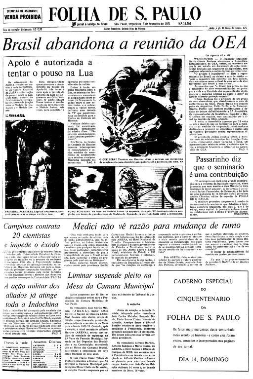 Primeira Página da Folha de 2 de fevereiro de 1971