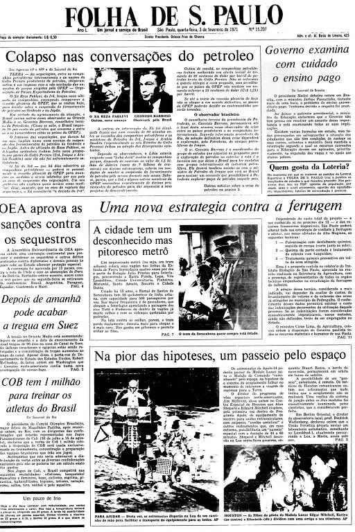 Primeira Página da Folha de 3 de fevereiro de 1971