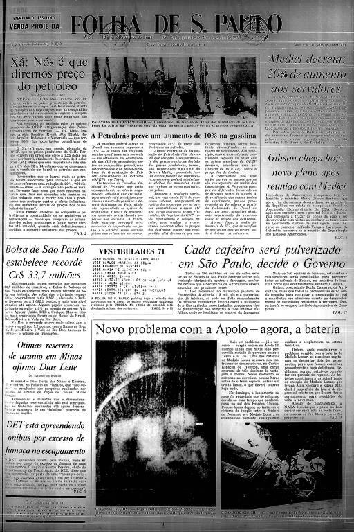 Primeira Página da Folha de 4 de fevereiro de 1971