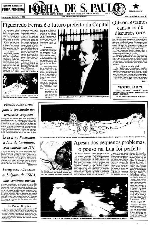Primeira Página da Folha de 6 de fevereiro de 1971