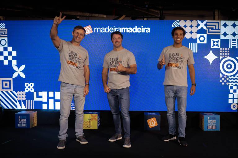 Os fundadores da MadeiraMadeira Marcelo Scandian, Daniel Scandian e Robson Privado