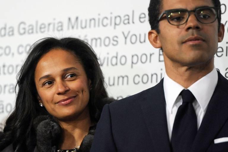 O casal Isabel dos Santos e Sindika Dokolo durante um evento na cidade do Porto, em Portugal