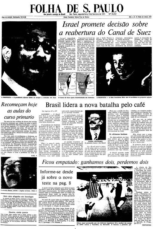 Primeira Página da Folha de 8 de fevereiro de 1971
