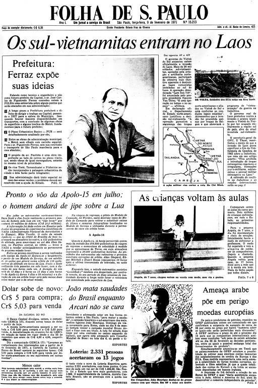 Primeira Página da Folha de 9 de fevereiro de 1971