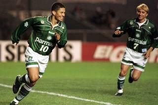 ALEX OF PALMEIRAS CELEBRATES HIS GOAL AGAINST RACING IN MERCOSUR SOCCER