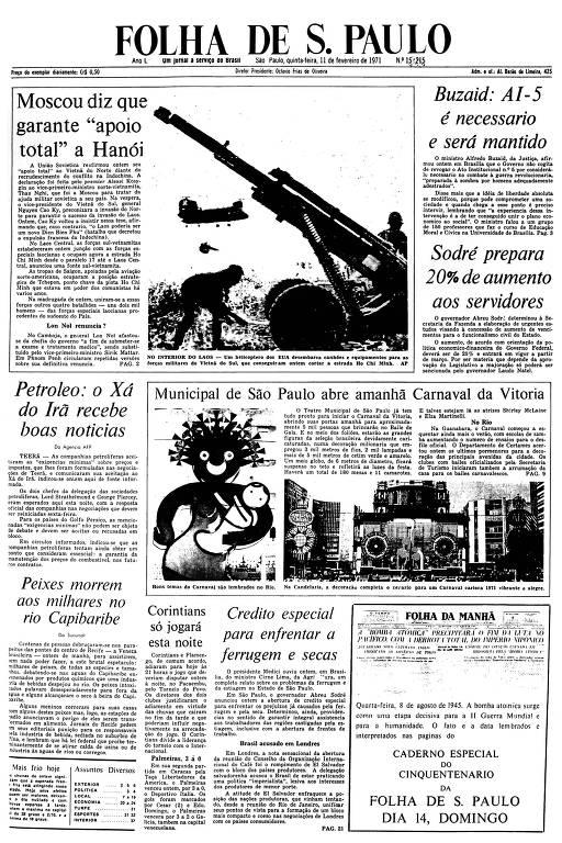 Primeira Página da Folha de 11  de fevereiro de 1971