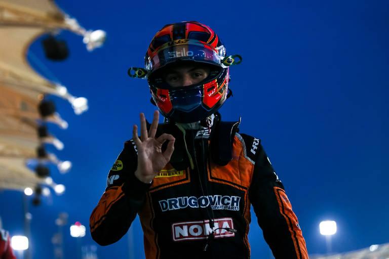 Felipe Drugovich comemora vitória no GP de Sakhir pela F2 em 2020