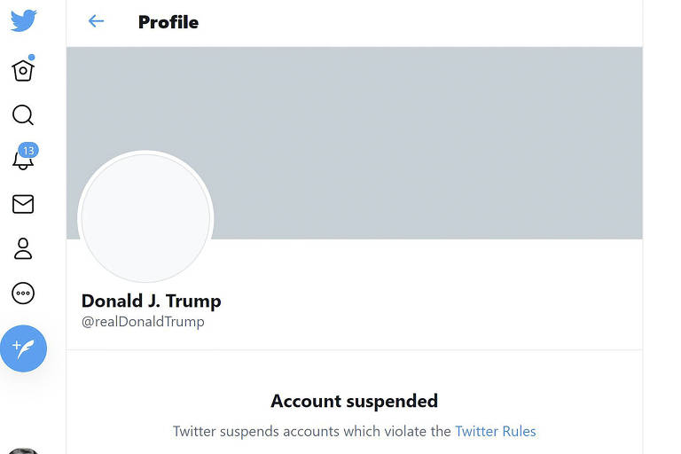 Conta do Twitter de Donald Trump bloqueada