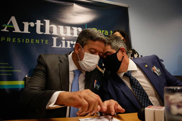 Arthur Lira e Ciro Nogueira conversam durante a campanha do deputado à chefia da Câmara