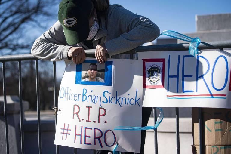 Advogada cria memorial em homenagem a Brian Sicknick, policial do Capitólio morto após invasão