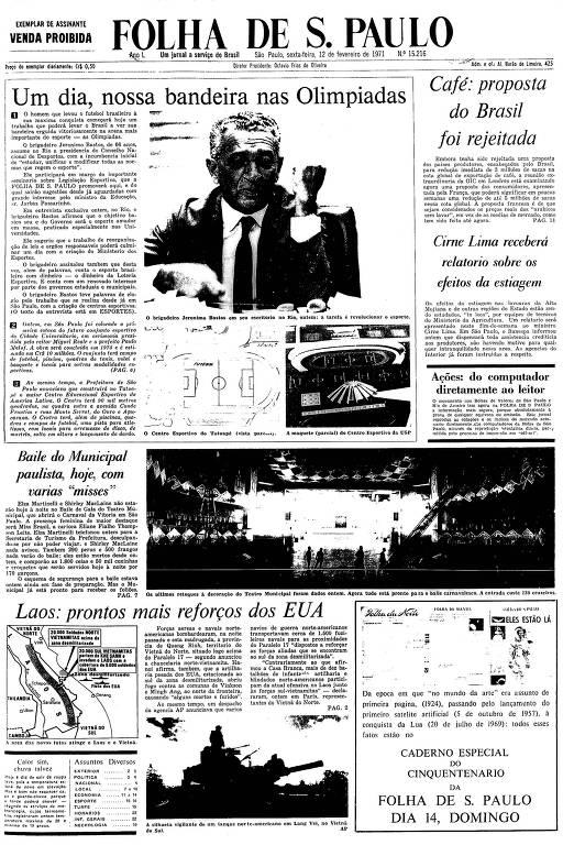 Primeira Página da Folha de 12  de fevereiro de 1971