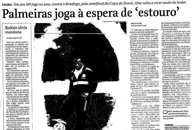 Reprodução de página da Folha de S.Paulo de 28 de maio de 1999, que abordava a maratona de jogos do Palmeiras