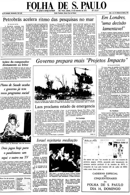 Primeira Página da Folha de 13 de fevereiro de 1971