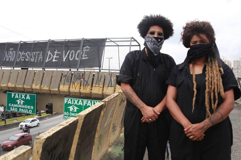 """Os artistas Renan Samam e Laiz Lamarante, do Jardim Salete, criaram a campanha """"Não desista de você"""""""