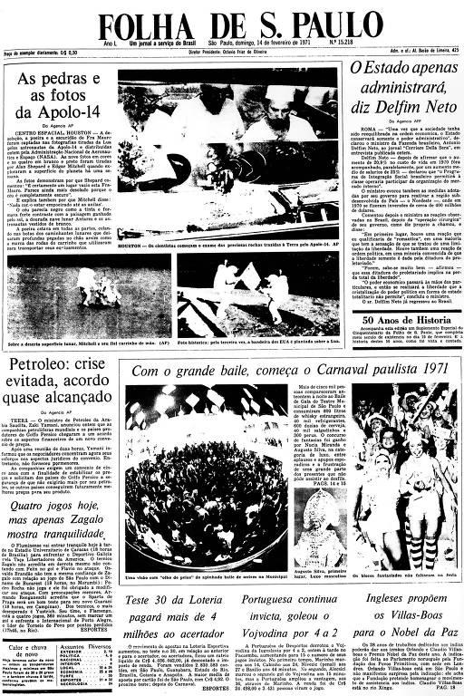 Primeira Página da Folha de 14 de fevereiro de 1971