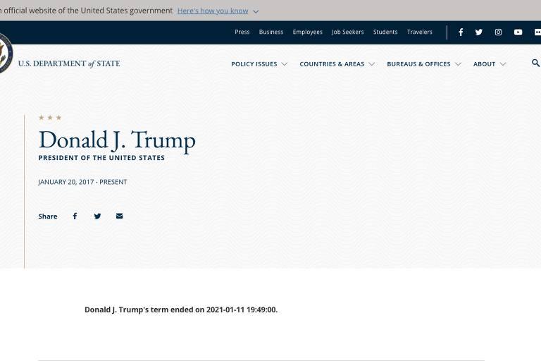 Captura de tela da biografia de Donald Trump no site do Departamento de Justiça afirma que mandato acabou nesta segunda-feira (11)